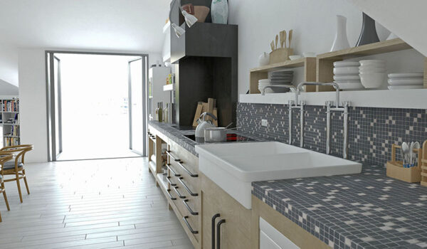 Kitchen: Mosaic 21 - Biancone SilvaGrey
